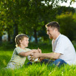 Daddy and son at a ball — Stock Photo #4014558