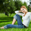Girl on a lawn — Foto de Stock