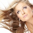 Blonde with flying hair — Stock Photo