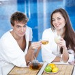 Couple in cafe — Stock Photo #4019283