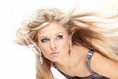 Létající plavé vlasy — Stock fotografie