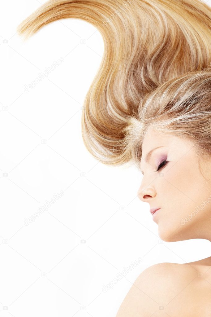 Close up of a bent fair hair and face of lying blonde, isolated — Foto Stock #4015589