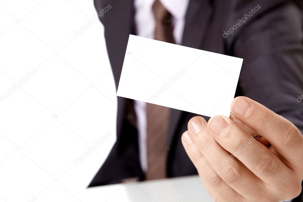 Occupied the person holds a card in a hand — Stock Photo #4019429
