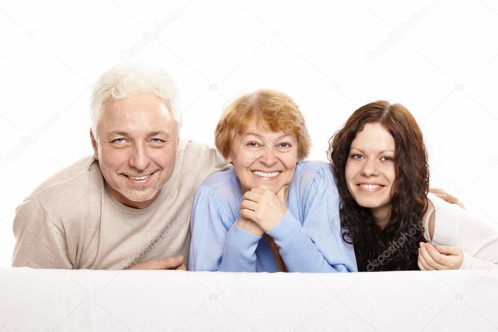 Family from three persons on a white background — Stock Photo #4019647
