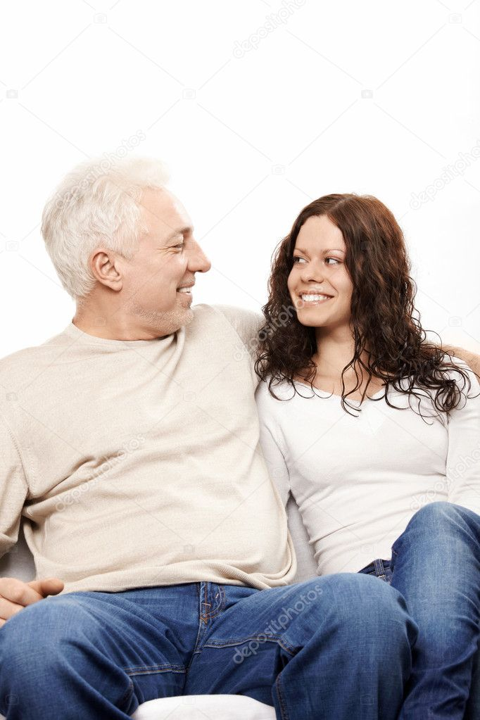 Happy father and the daughter on a white background — Stock Photo #4019654