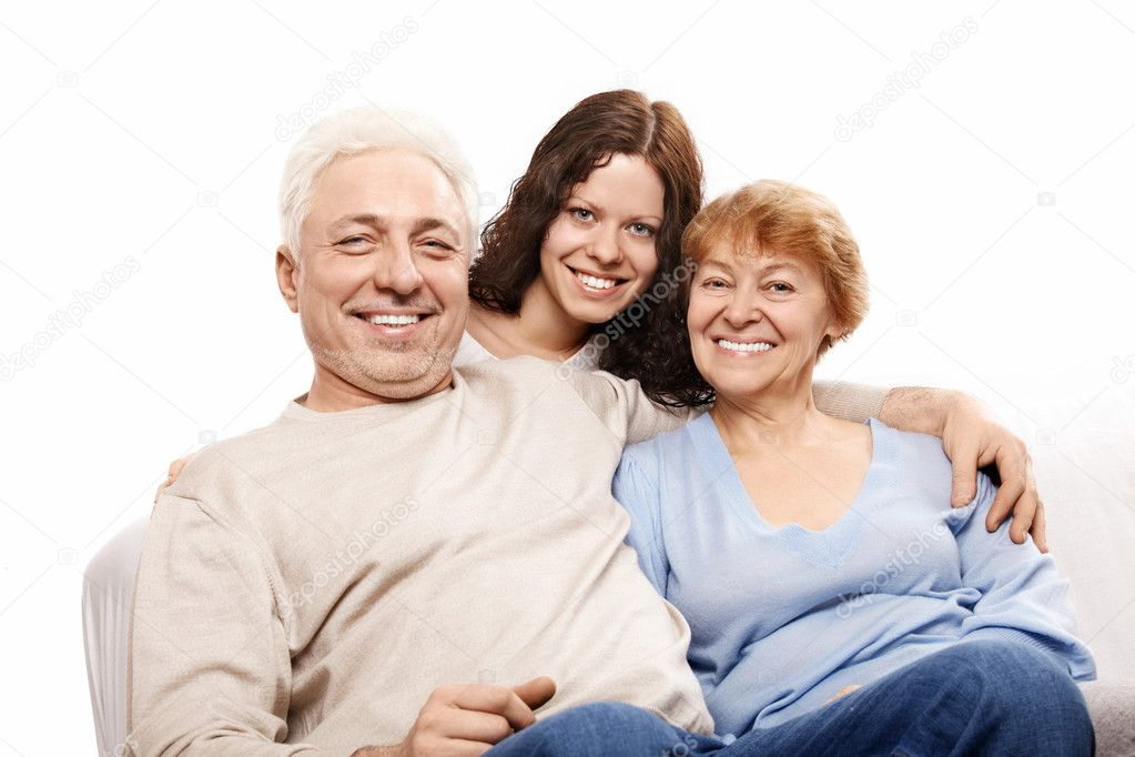 Happy parents with the daughter on a white background — Stock Photo #4019693