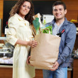 Smiling couple in shop — Stock Photo #4021780