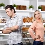 Quarrel in shop — Stock Photo
