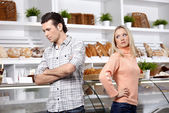 Quarrel in shop — Stock Photo