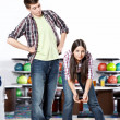 Couple playing bowling — Stock Photo