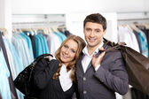 Young couple in shop — Stock Photo