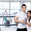 Young couple in sports club — Stock Photo #4246165