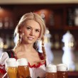 Waitress with beer - Stock Photo