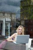 Girl with a laptop — Foto de Stock
