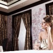 The beautiful girl at restaurant — Stock Photo #4511885