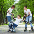Amusing driving on rollers — Foto de Stock