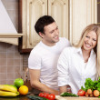 Couple on kitchen — Stock Photo