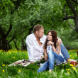 Enamoured couple on picnic — Stock Photo
