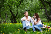 The young couple in park — Stock Photo