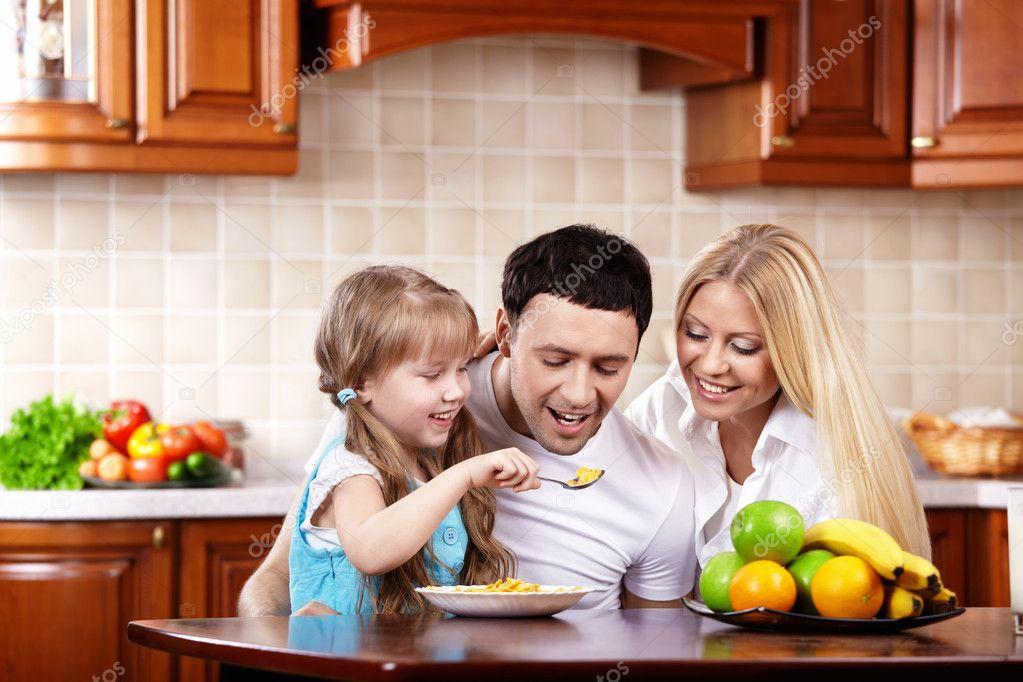 breakfast of a happy family  stock photo © deklofenak, Kitchen