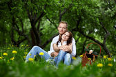 Romantic appointment in park — Stock Photo