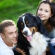 Couple with dog — Stock Photo