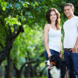 Walking the dog — Stock Photo
