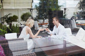 Couple in restaurant — Stock Photo