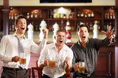 Giovani uomini gioiscono della vittoria della sua squadra in un bar — Foto Stock