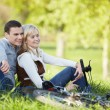 A couple with bikes — Stock Photo