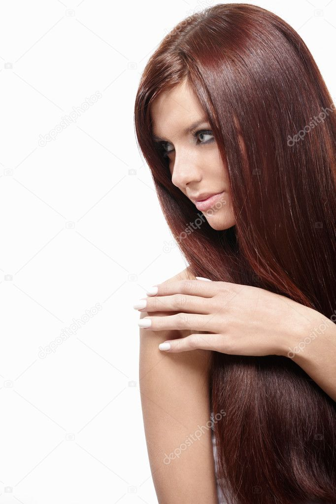 Attractive girl with beautiful hair on a white background — Stock Photo #4715985