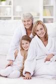 Grandmother, mother and daughter — Stok fotoğraf