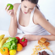 Stock Photo: Healthy or unhealthy food