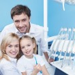 Families in the dental office — Stock Photo