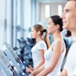 On treadmills — Stock Photo