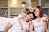 Laughing families — Stock Photo