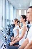On treadmills — Stock Photo