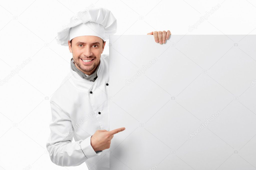 Cook showed to an empty board on a white background — Stock Photo #5147755