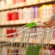 Shopping cart in supermarket — Stock Photo