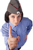 Young woman wearing a russian police uniform — Stock Photo