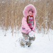 Stock Photo: Playing with snow