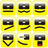 九个表情符号集 — 图库矢量图片