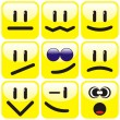 Set of nine smilies - Stock Vector