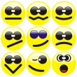 Set of nine smilies — Stock Vector