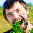 Young man in the bush of cannabis — Stock Photo #4675059