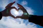 Corazón con sol interior — Foto de Stock