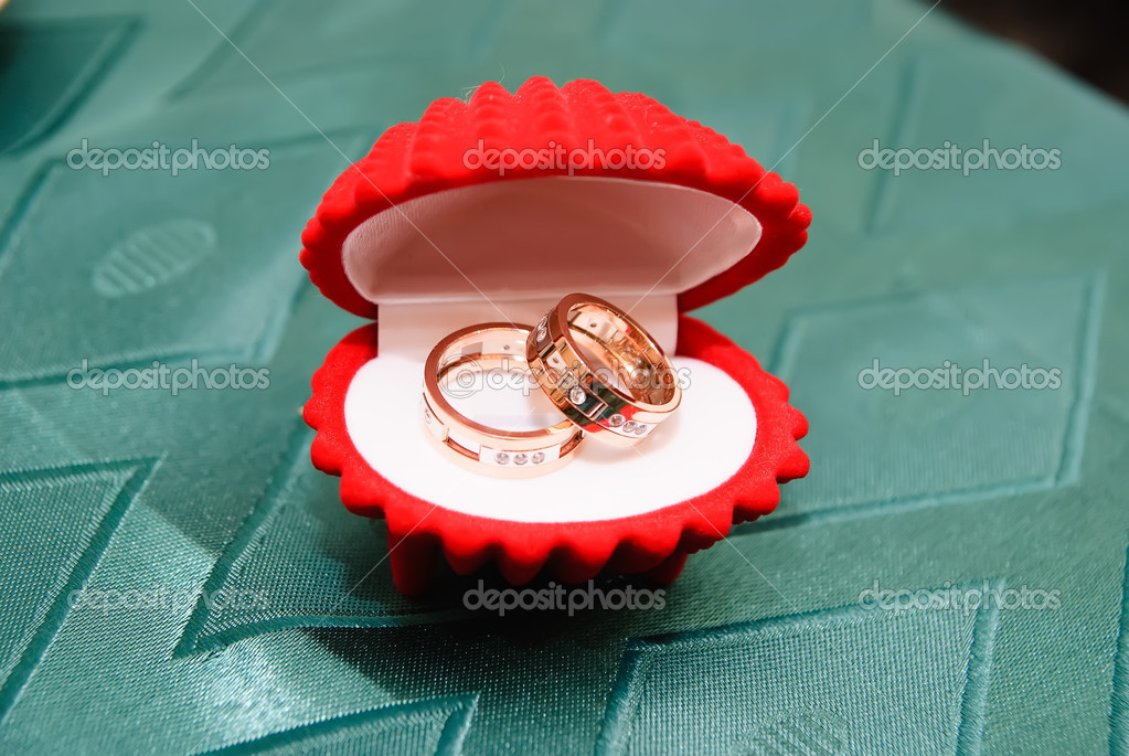 Two wedding bands in a red shell — Stock Photo #4808876