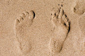 Footprint in the sand macro — Stockfoto