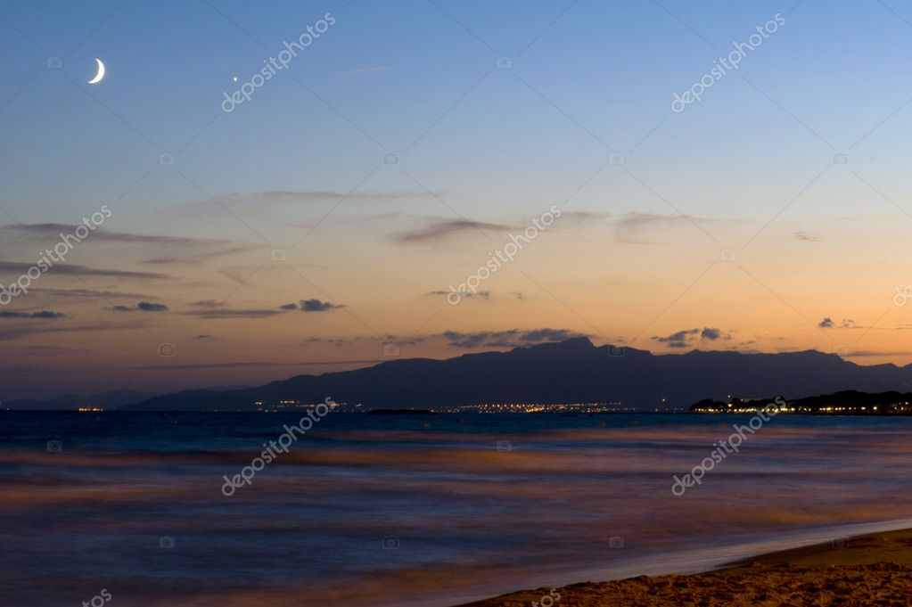 Spain Salou summer night on the beach — Stock Photo #4240810