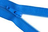 Blue sewing zipper — Stock Photo